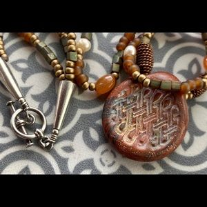 Handmade necklace w glass beads and clay pendant